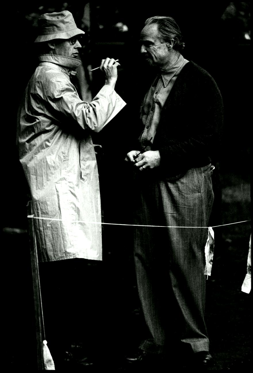 MARLON BRANDO WITH DICK SMITH SHOOTING THE GODFATHER